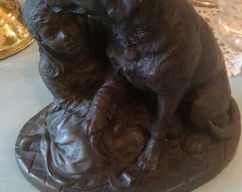 Heredities signed cold cast bronze dog and girl