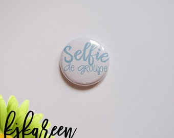 """Badge 1 """"- Selfie of pale blue group"""