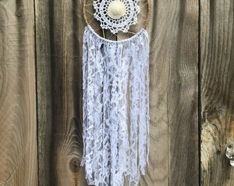 Mermaid Curency White Lace Recycled Handmade Dreamcatcher-1 tree is planted with every purchase