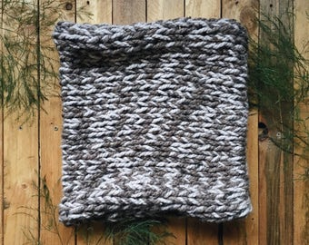 READY-TO-SHIP! chunky knit cowl two-tone neckwarmer circle scarf    The Eastern Redcedar