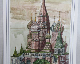 Vintage Moscow Kremlin Minarets Original Watercolor Unknown Signature Free Shipping
