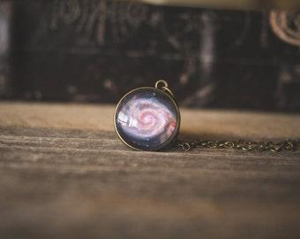 Spiral Galaxy Necklace, M51 Galaxy Pendant, Whirlpool Galaxy, Space Pendant, Pink Purple Galaxy, Star Pendant, Messier Galaxy