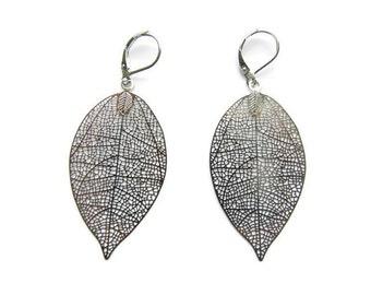 Filigree earrings, filigree jewelry, filigree leaf, floral jewelry, boho earrings, silver earrings, large earrings, statement earrings