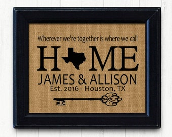House Warming Gift  | Our First Home Burlap Print | Personalized Address Sign | New House Gift | New Homeowner
