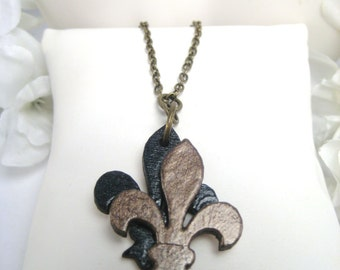 Vieuxtique Original- Black & Gold Fleur de lis Pendant, 3D Fleur de lis Necklace, New Orleans Jewelry, Louisiana Jewelry, New Orleans Saints