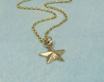 9ct Gold Star Necklace, Simple Star Necklace, Solid Gold Necklaces, Star Charm Necklace, Everyday Necklace, Tiny Star Pendant