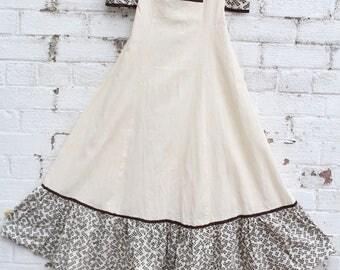 vintage cream brown floral flower daisy 70s folk cotton gypsy hippy maxi boho dress S