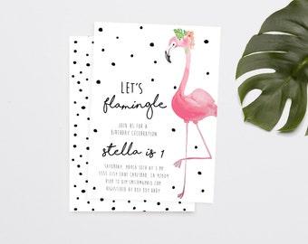 Flamingo Birthday Invitation, Tropical Birthday, Unique, Watercolor Invitation (712)