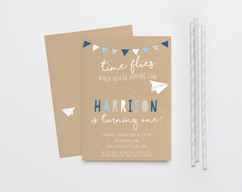 Time Flies Paper Airplane Boy Birthday Invitation, First Birthday, Bunting, Navy and White (858)