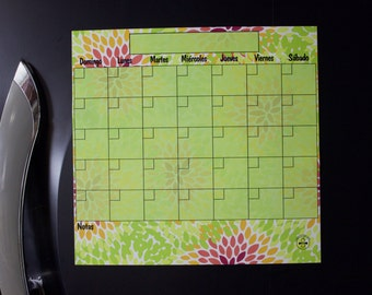 Spanish Monthly Dry Erase Calendar, Flor Lime Calendar, Magnetic Refrigerator Calendar, Spanish Calendar, Spanish Perpetual Floral Planner