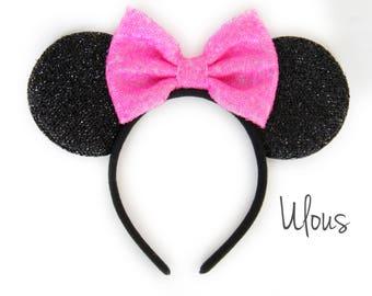 Pink Minnie Ears, Minnie Ears, Sparkly Minnie Ears, Minnie Mouse Ears, Mickey Ears, Pink Mickey Ears, Minnie Party Ears, Pastel Minnie Ears