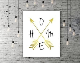 Home Printable Download, Arrow Print, Black Gold Home Decor, Family Art, Arrow Wall Decor Gold Foil Art, Gold Printable Arrow Artwork