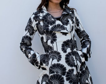 SAPNA FLORENCE/// Black and White Women Fitted Coat /// Floral Trench coat