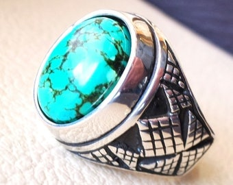 men ring nishapur tibetan turquoise blue natural high quality stone  sterling silver 925  all  semi precious gem middle eastern style