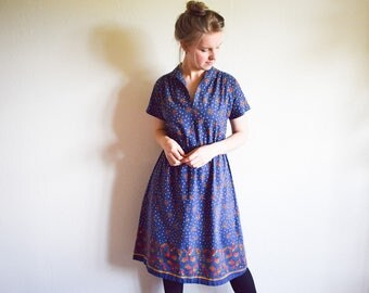 Vintage 70s Dress, Blue Floral Dress Large, Boho Cotton Dress With Flowers