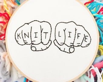 KNIT LIFE Gangster Embroidered Hoop Art