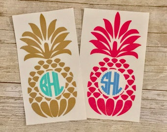 Personalized Pineapple Monogram/Yeti Decal/Laptop Decal/Car Decal