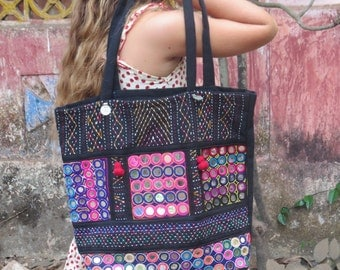 Black Banjara Shoulder Bag, unique, tribal, ethnic, gypsy, embroidery, mirrors, patchwork,  one-of-a-kind, hippy, vibrant colors, handbag