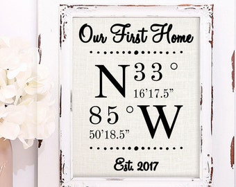 Real Estate Closing Gifts, First Home Gift, New Home Gift, Realtor Gift, House Warming Gift, Our First Home, Home Sweet Home, GPS Coordinate