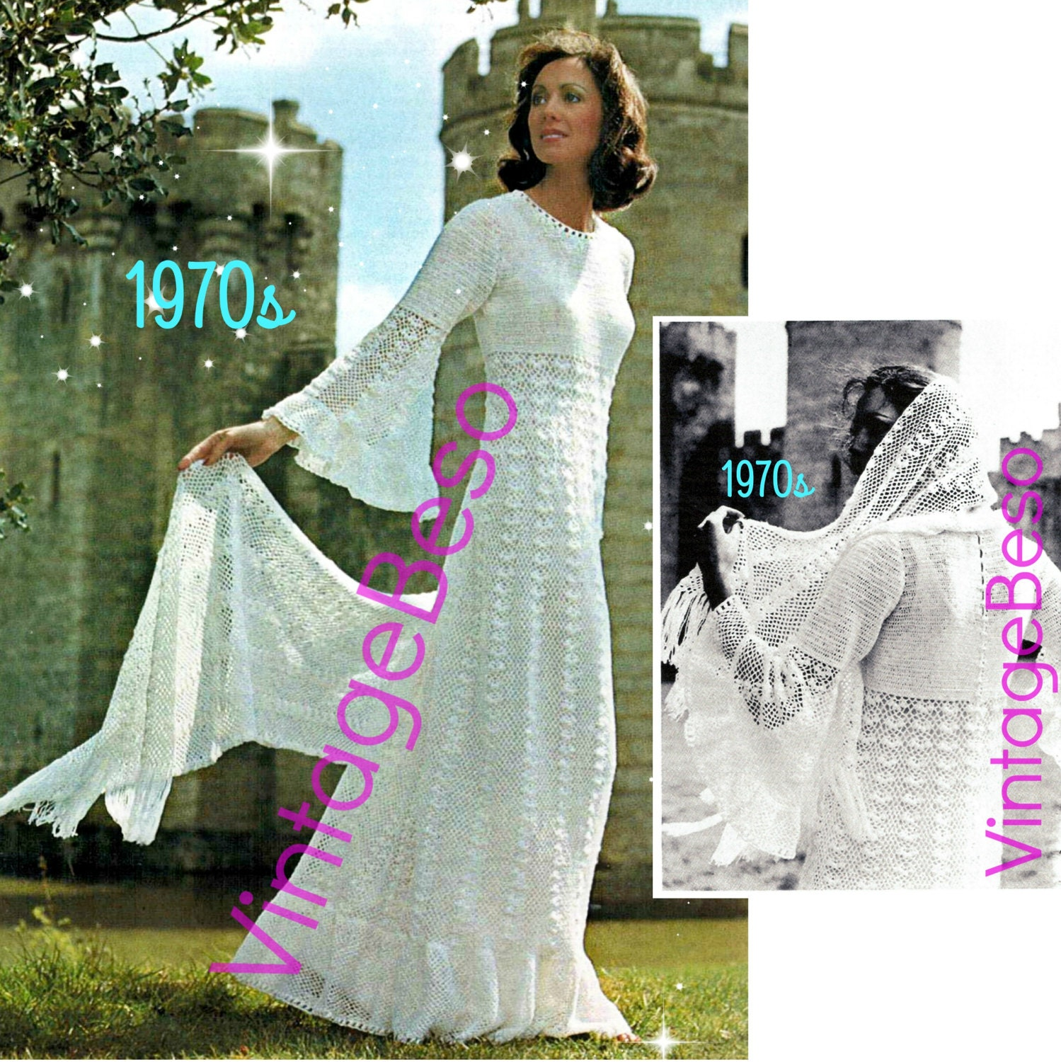 2 fairy tale angel wing juliet style wedding dress crochet for Angel wings wedding dress