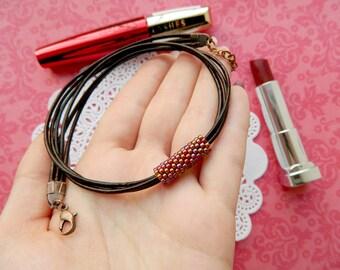 Leather Choker Red Choker Choker necklace Boho choker Brown leather cord Leather Necklace gift  for her Boho jewelry Hippie choker Ethnic