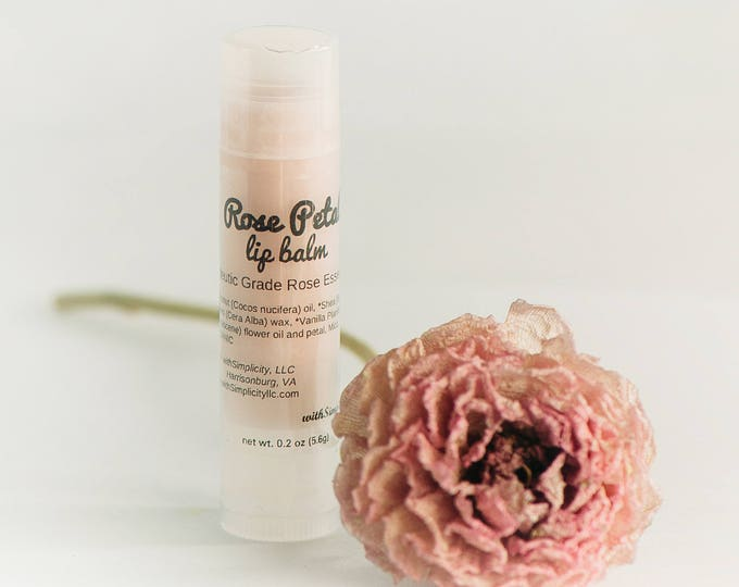 Rose Petal Lip Balm, Therapeutic Grade Rose Essential Oil