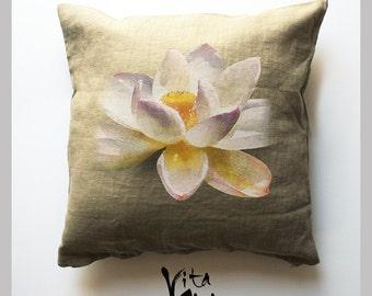 White Lotus wheat colored Throw Pillows, mandala, Yoga, home decor accent, spiritual
