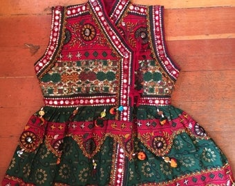 Vtg Handmade Festive Mirrored Indian Floral Embroidered Pompom Costume Top -size SM