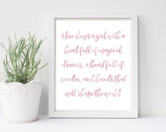 Here Sleeps A Girl Print or Printable, Pink Watercolor Nursery Print or Printable, Girl Room Decor, Pink Decor, Bedroom Decor, Pink Wall Art