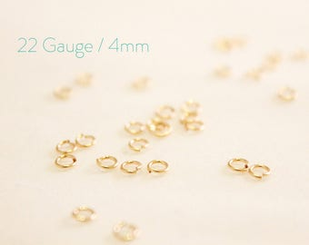 10 Pieces - 14k Gold Filled Open Jump Rings - 4mm Open Jump Ring - Jewelry Closure - Connector - Gold Findings - Wholesale Bulk / GF-OJR001