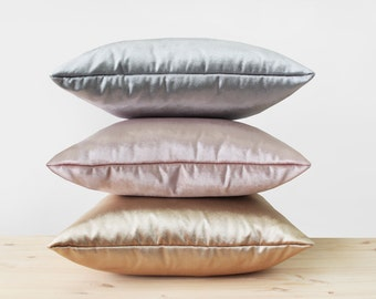 Metallic Velvet Pillow Cover Gold Silver Rose Gold Velvet Pillows Sheen Velvet Cushion Modern Luxury Shiny Solid Rosegold Velvet Pillows