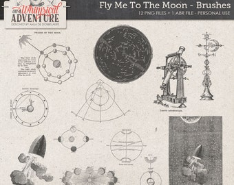 Moon, space, digital download, scrapbooking brushes stamps vintage, stars, galaxy, astronaut, cosmic, sci-fi, love, fly, rocket, Jules Verne