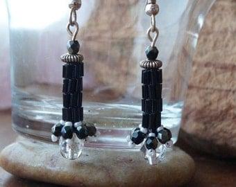 Jet Peyote Stitch Earrings