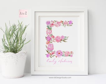 Personalized Name Print, Letter Print, Custom Print, Personalized Gift, Cadre, Nursery Wall Art, Kids Room Decor, Floral Letter, D4-K3