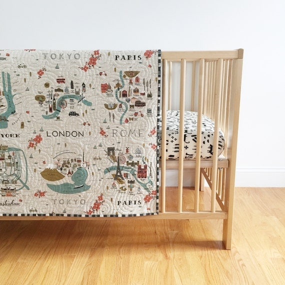 Rifle Paper Co. Wholecloth Baby Quilt with City Maps and Grid in Charcoal  >> MADE-to-ORDER paris toddler quilt, map quilt, city crib quilt