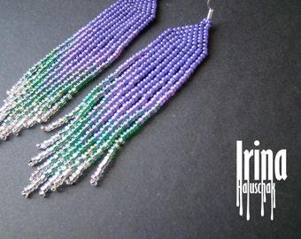Purple, green and silver beaded earrings. Seed bead earrings. modern earrings, boho earrings, fringe earrings, beadwork jewelry, dangle