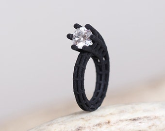 black solitaire ring, geometric ring black, architecture jewelry, statement ring black, black ring for women, contemporary jewelry