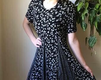 Vintage Black Floral Babydoll Dress