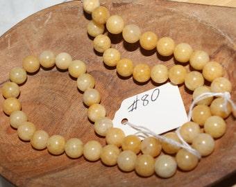 "16"" Strand of 8mm Smooth Round Golden Honey Jade Beads #80"