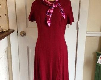 Deep red stewardess linen blend dress with neck scarf