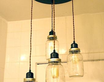 Mason Jar chandelier vintage Industrial, Antique Edison Bulb, Mason Jar Lamp, Rustic Lighting