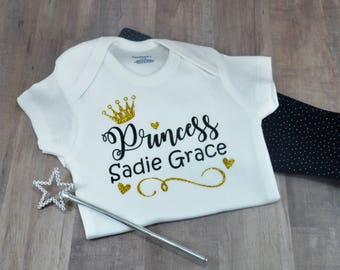 Personalized Princess Name Bodysuit Newborn Baby Girl Toddler Clothes Rompers Baby Shower Birthday Gift Idea Coming Home Outfit Accessory