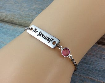 """Personalised Inspirational Charm Bracelet-Laser Engraved """"Be yourself"""" With Swarovski Crystal Birthstone-Personalised Jewellery-Heart Charm"""