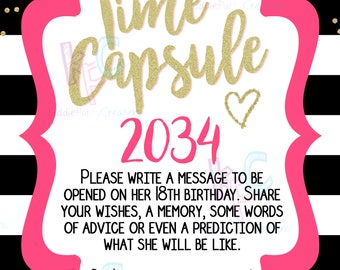 Kate Spade Inspired 1st Birthday Time Capsule Printable 8x10 Sign with Matching Printable Note Cards (Digital Files Only INSTANT DOWNLOAD)