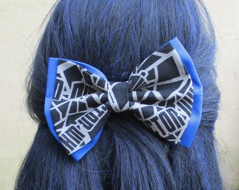 Double Layered Stattered Doctor Who hair bow, hair bow clip, fabric hair bow clips, hair bows for teens,women hair bow hairbows,men's bowtie
