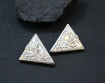 Sterling Silver Hand Engraved Collar Tips