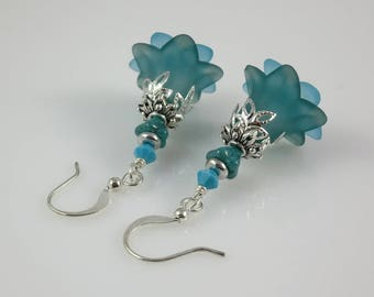 Silver Aqua Blue Lucite Flower Czech Glass and Swarovski Crystal Earrings