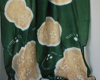 Beige & Green Floral – Vintage Japanese Silk Obi Scarf
