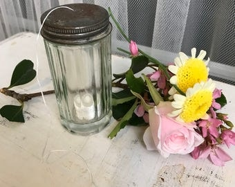 Vintage 1930s Glass Dental Floss Container
