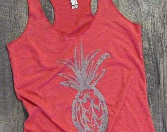 Pineapple tank, pineapple shirt, womens graphic tees, yoga tank, workout tank, hawaiian shirt, racerback tank, gift for her, plus size
